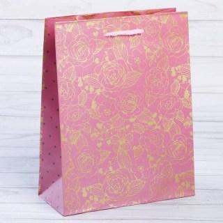 подарочный пакет золотые розы купить
