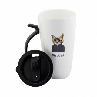 Оригинальная кружка «Модный котик» с крышкой купить в Минске +375447651009