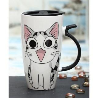 Оригинальная кружка «Удивленный котик» с крышкой купить в Минске +375447651009