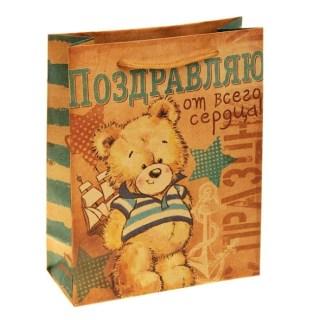 Пакет подарочный крафт Мишка «Поздравляю от всего сердца» купить Минск