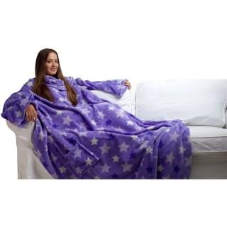 плед с рукавами фиолетовый со звездочками купить