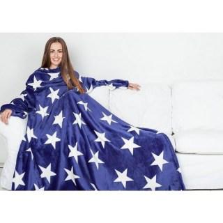 плед с рукавами слипи синий со звездочками купить