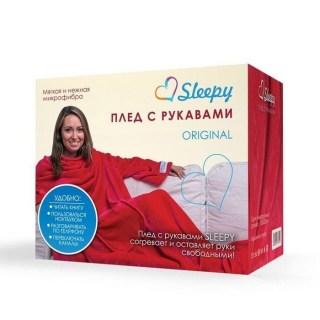 Купить плед с рукавами Sleepy малиновый Минск +375447651009