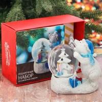 Подарочный набор «Белый мишка» снежный шар + свеча купить в Минске +375447651009