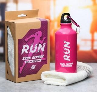 Подарочный набор «Будь первой» бутылка для воды, полотенце купить в Минске +375447651009