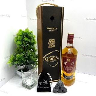 Подарочный набор для виски «Grants» со стаканом и камнями купить Минск +375447651009