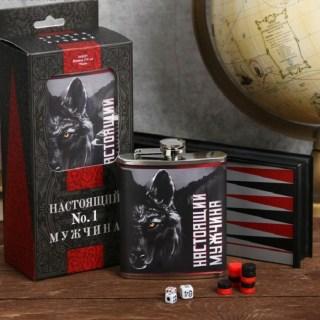 Подарочный набор «Настоящего мужчины» нарды+фляжка 210 мл купить в Минске +375447651009