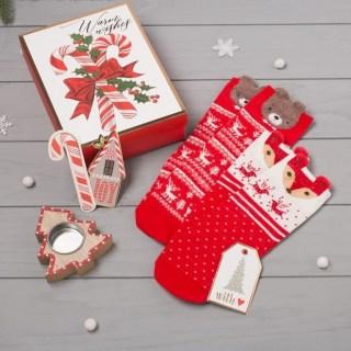 Подарочный набор «Новогодняя карамель» 2 пары носков+подсвечник купить в Минске +375447651009
