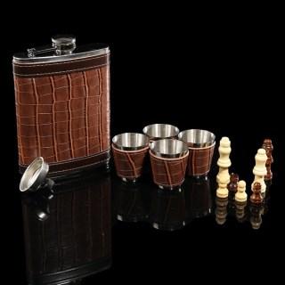 Подарочный набор с фляжкой и шахматами «Brown Crocodile» купить в Минске +375447651009
