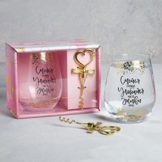 Подарочный набор «Улыбайся часто» стакан 600 мл и штопор купить в Минске +375447651009