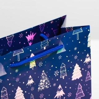 Подарочный пакет «Елочки» галография 8 × 23 × 8 см купить в Минске +375447651009