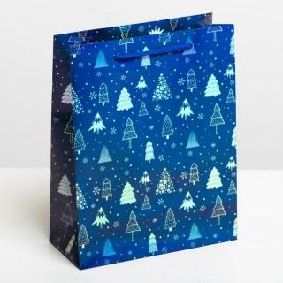 Подарочный пакет «Елочки» голография 8 × 23 × 18 см купить в Минске +375447651009