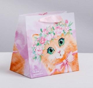 Подарочный пакет «Кошечка с бантиком» 22 × 22 × 11 см Минск +375447651009