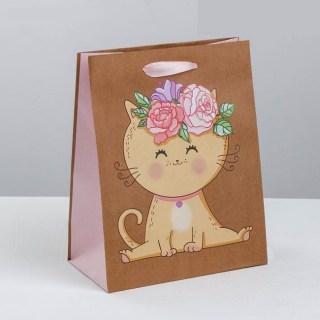 Подарочный пакет «Котик с цветами» 23 × 27× 11,5 см купить Минск +375447651009