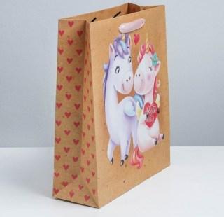 Подарочный пакет крафт «Единорожки» 18 × 23 × 8 см Минск +375447651009