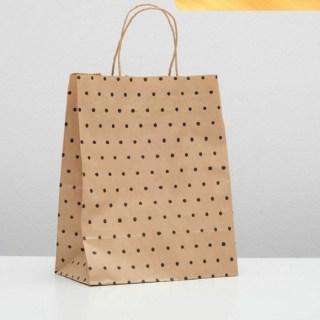 Подарочный пакет крафт «Горошки» 24 х 14 х 30 см купить Минск +375447651009