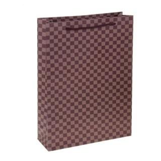Подарочный пакет крафт «Клетка коричневая» 24 х 33 х 8 см купить в Минске +375447651009