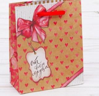 Подарочный пакет крафт «От всего сердца» Минск +375447651009