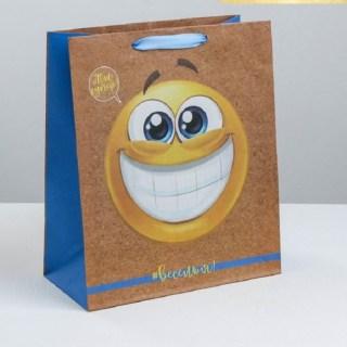 Подарочный пакет крафт «Смайл» 23 × 18 × 10 см купить Минск +375447651009