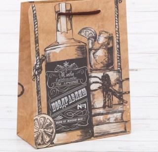 Подарочный пакет крафт «Живи в удовольствие» 18 × 23 × 8 см Минск +375447651009
