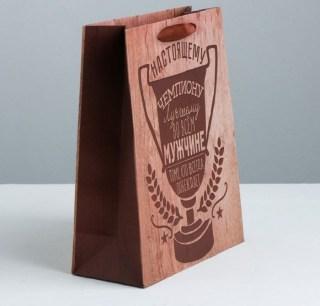 Подарочный пакет «Настоящему чемпиону» 18 × 23 × 8 см Минск +375447651009