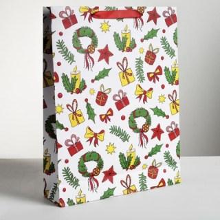 Подарочный пакет «Новогоднее настроение» 40 × 31 ×9 см купить Минск +375447651009