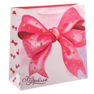 Подарочный пакет «Розовый бант» 22 × 22 × 11 см Минск +375447651009