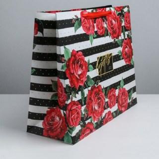 Подарочный пакет «Розы» 49× 40× 19 см купить в Минске +375447651009
