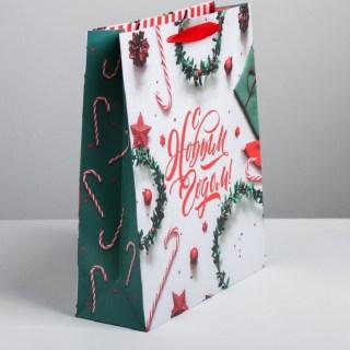 Подарочный пакет «С Новым Годом» 26 × 30 × 9 см купить в Минске +375447651009