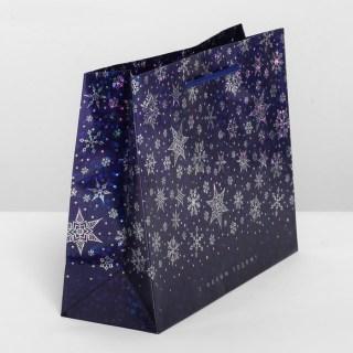 Подарочный пакет «Снежинки» галография 8 × 23 × 18 см купить в Минске +375447651009