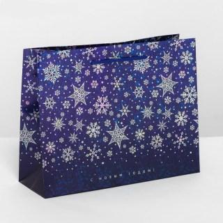 Подарочный пакет «Снежинки» голография 8 × 23 × 18 см купить в Минске +375447651009
