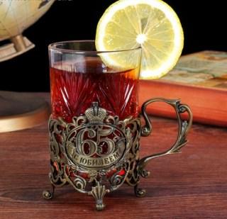 Подстаканник юбилейный со стаканом «65 лет» купить Минск +375447651009