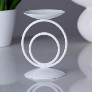 Купить Подсвечник декоративный «Круги»  белый купить в Минске +375447651009