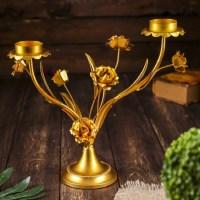 Подсвечник декоративный «Нежный букет» на 3 свечи купить в Минске +375447651009