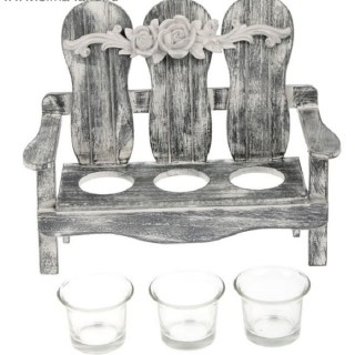 Подсвечник декоративный «Садовая скамья» на 3 свечи серый  купить в Минске +375447651009