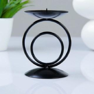 Купить Подсвечник декоративный «Круги» черный купить в Минске +375447651009