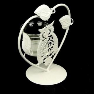 Подсвечник декоративный «Совушка в сердце» белый купить в Минске +375447651009