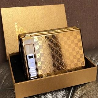 Портсигар DINGHAO 2 в 1 «Квадратики» с зажигалкой от USB купить Минск