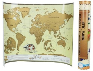 Скретч карта мира на английском языке в тубусе купить Минск