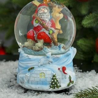 Снежный шар «Дед Мороз с медведями» музыкальный купить в Минске +375447651009