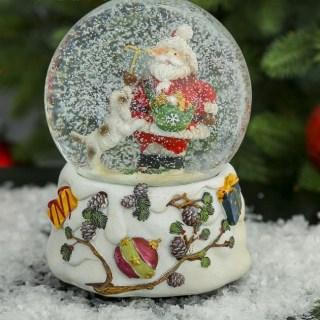 Снежный шар «Дед Мороз с собакой» музыкальный купить в Минске +375447651009