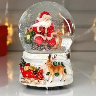 Снежный шар музыкальный «Дед Мороз с санями подарков» купить в Минске +375447651009