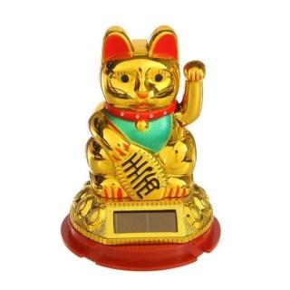Сувенир на солнечной батарее «Кот счастья» золотой 9 см. купить в Минске +375447651009