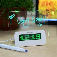 Светящийся Led будильник с доской для записи с USB и хабом зеленый Минск +375447651009