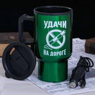 Термокружка с подогревом «Удачи на дороге с жезлом» от прикуривателя Минск
