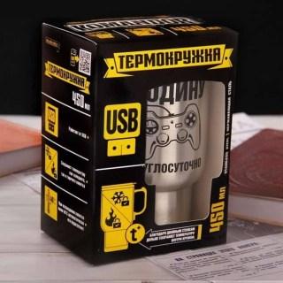 Термокружка с подогревом 'Защищаю родину круглосуточно' от USB купить