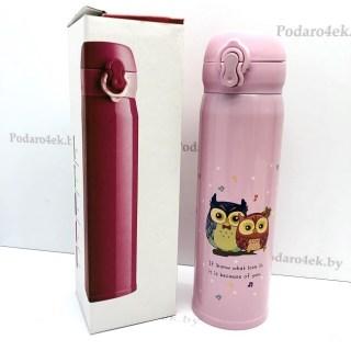 Термос «Совята» розовый 500 мл Минск +375447651009