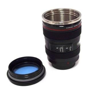 Термостакан в виде объектива от фотоаппарата 5 с синей линзой купить