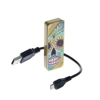 USB зажигалка с подсветкой 'Череп' купить