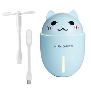 Увлажнитель воздуха USB «Котэ» с фонариком и вентилятором бирюзовый купить Минск +375447651009